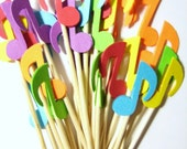 24 Colorful Musical Notes Party Picks - Cupcake Toppers - Toothpicks - Food Picks - die cut punch FP475