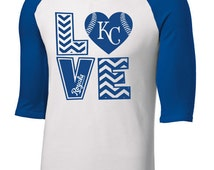 Kansas City KC Royals Raglan 2 color Baseball Shirt LOVE Heart Chevron Design Youth and Adult sizing up to 6XL