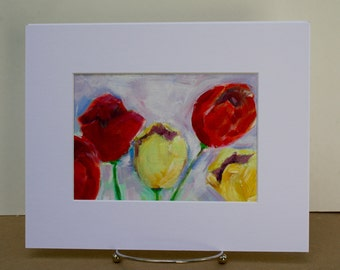 Tulip Painting in Acrylic - Small Painting Flowers - Floral Painting Still Life - wall decor spring - fine art home decor