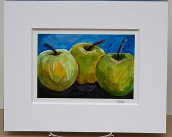Original painting - Green apples - pop art - small art - fine art home decor - wall art - still life fruit painting