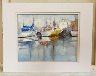 Original painting boats - watercolor sail boats - nautical painting - Seascape - Coastal - cottage beach -fine art home decor - wall art