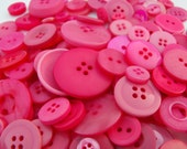 Hot Pink Buttons, 100 Bulk Assorted Round Multi Size Crafting Sewing Buttons