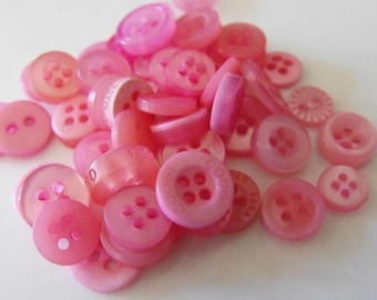 Blush Pink Buttons, 50 Small Assorted Round Sewing Crafting Bulk Buttons