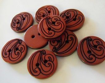 """9 Burgundy with Black Swirl Round Buttons Size 11/16""""."""