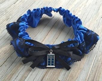 Doctor Who Tardis Royal Blue & Black Lace Layerd Bridal Satin Wedding Garter Keepsake Or Garter Set Something Blue