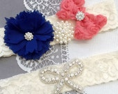 Wedding Garter Bridal Garter Coral Red Navy Blue Lace Garter Set Rhinestone Garter Crystal Pearl Garter Beach Wedding GR164LX
