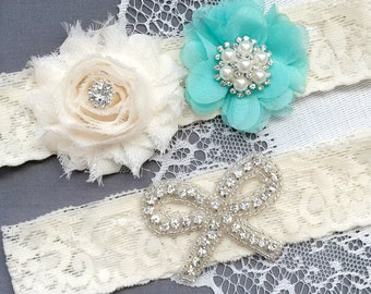 Wedding Garter Set Bridal Garter Set Teal Blue Lace Garter Set Ribbon Bow Rhinestone Crystal Pearl Garter Beach Wedding GR170LX