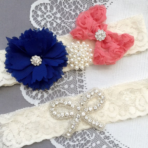 Red Wedding Garters: Wedding Garter Bridal Garter Coral Red Navy Blue Lace Garter