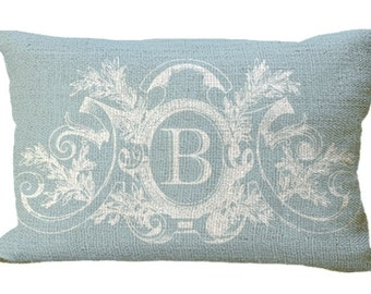 powder blue fancy frame custom monogram burlap lumbar oblong in choice of 18x12 20x12 20x13 24x16 pillow cover