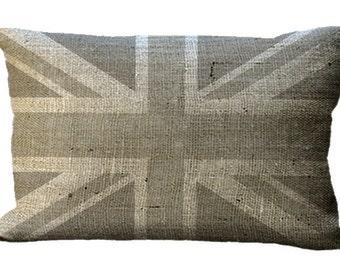 Burlap Gray Union Jack Lumbar Oblong or Square in Choice of 18x12 20x13 22x12 24x16 16x16 18x18 20x20 22x22 24x24 26x26 Inch Pillow Cover