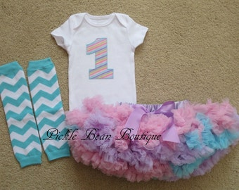 1st Birthday Girl Outfit - Pink Lavender Blue Pastel Stripe Bodysuit - Baby Pettiskirt - Chevron Leg Warmers - Girls First Birthday Outfits