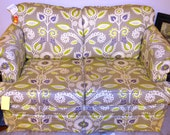 Vintage Loveseat Upholstered in Waverlys Modern Essentials Fabric Gray/Purple