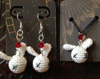 Vampire Bunny earring & necklace set