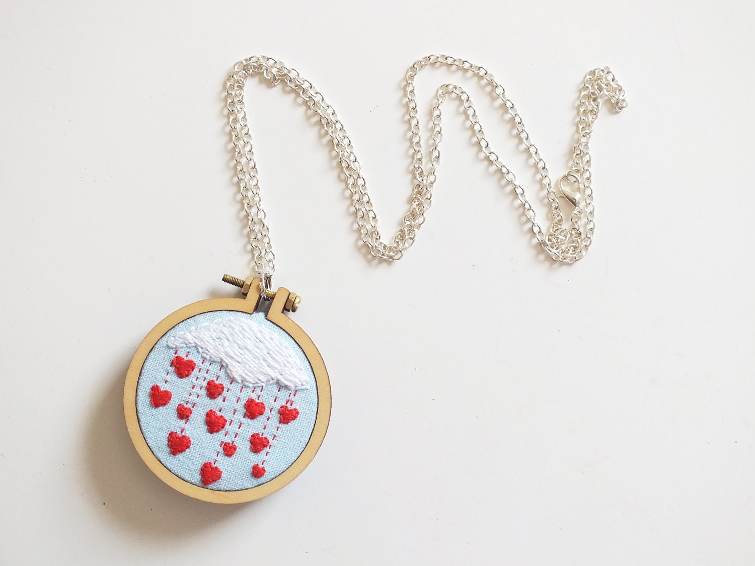 Valentine s day gift hearts necklace embroidered