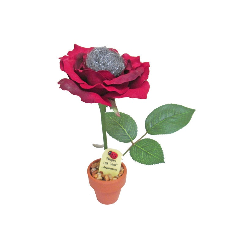 Gift For 11th Wedding Anniversary: 11th Anniversary Gift Steel Rose