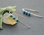 Modern Turquoise Earrings, Delicate Gold Blue Earrings, Minimalistic Stone Earrings Blue, Minimal December Birthstone Earrings