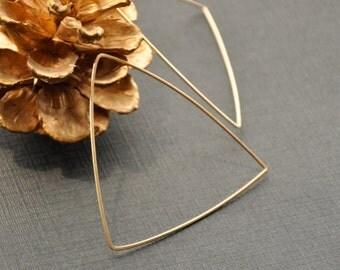 Gold Triangle Hoop Earrings, Large Triangular Earrings, Geometric Jewelry, 14K Gold Filled Hoop, Geometric Hoop, Gold Edgy Earrings