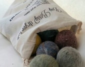 Wool dryer balls, pretty  heathers set of 6 Free Shipping to USA