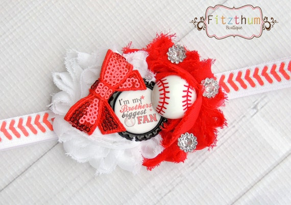 I'm my brothers biggest fan baseball bow  headband clip for toddler or big kids 12-18 18-24 2-3