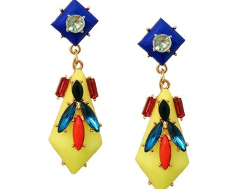 Fun Chic Geo Yellow Multicolor Colorblock Statement Earrings Spring Summer Cruise Resort  2016 Fashion