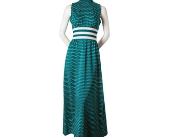 Vintage maxi dress -- 1960s / 70s sleeveless maxi dress -- long green dress with polka dots -- size small or xs