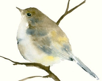 Original Watercolor Painting Little Songbird