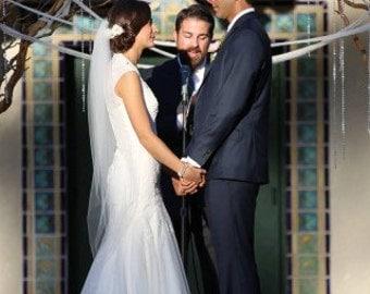 "Waltz length style single layer veil, bride wedding veil, 49"" inch long veil, white, ivory, diamond"