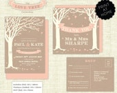 """Downloadable """"Love Tree"""" Wedding Invite, RSVP & Thank You card pack"""