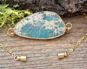 One of a Kind - Teal Jasper Electroformed 24kt Necklace