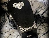 Silver Gargoyle Vampire Black Goth Gothic Red Lined Wood Coffin Jewelry Trinket Home Decor Desk Organizer Box