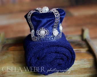 Baby Boy Wrap Set Baby Boy Props Silver Baby Crown Blue Crown Baby Boy Photography Prop Blue Newborn Crown Newborn Prop Blue Boy Wrap