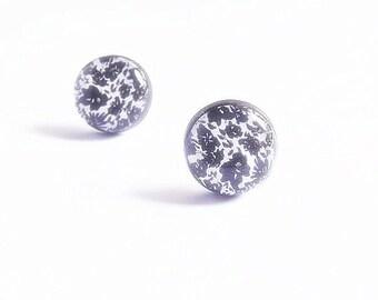 Simple Black Stud Earrings - Flower Stud Earrings - Everyday Earrings - Floral Posts - Black And White