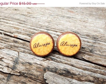 Harry Potter earrings- Hogwart jewelry- Always stud earrings- Brown earrings