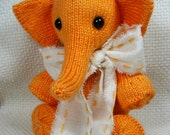 Collectible Hand Knit Toy Elephant - Elmore, the Brilliant by Jan