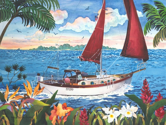 Sailboat, Sailing in the Tropics, Sail Boat and Tropical Flowers, Sailing the Islands