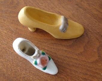 Primitive Miniature Collectible Shoes, Pumps, Heels, Porcelain and Molded