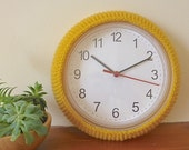 wall clock cover, IKEA hack, hand knitted clock cosy