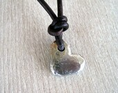 SALE code 25OFF for 25%off all items Rustic Artisan Heart Handmade PMC Sterling Silver Necklace Leather Strand