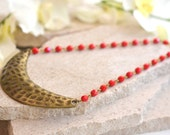 Crescent Statement Necklace with Red Beads. Geometric Pendant Bib Statement Necklace in Antique Brass. Bib. Collar. Boho Necklace.