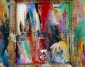 Framed: original mixed media assemblage acrylic painting on canvas 24x36 abstract expressionism