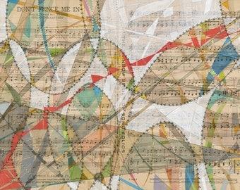 Don't Fence Me In: archival print of original artwork modern geometric art on vintage sheet music