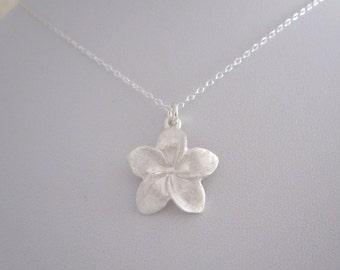 Tropical FRANGIPANI PLUMERIA FLOWER brushed sterling silver charm with chain necklace