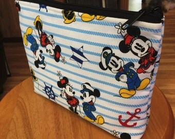 Mickeyand Minnie Mouse Large zipper Cosmetic/accessory Pouch