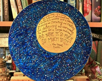 "Doctor Who Decorative Platter - ""There is so much, so much to see"" - Eleventh Doctor Quote - Hand painted, starry galaxy with golden moon"