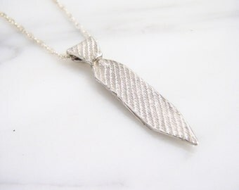 Mens or Ladies Sterling Silver Striped Necktie Pendant Necklace - A BG&J Exclusive