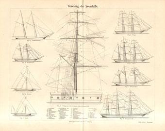 1890 Rigging of Sailing Ships, Warship, Frigate, Brig, Barquentine, Barque, Schooner, Gaff-rigged Schooner, Cutter, Yawl Vintage Print