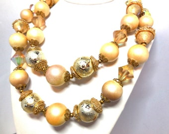 Vendome Double strand Necklace Gold Cream Blush AB Crystal Vintage Glamour