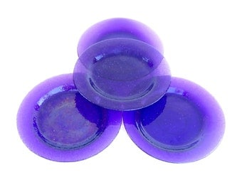 Vintage Glass Plates Set of 4 Purple Art Glass Plates Amethyst Glassware Tropical Dinnerware