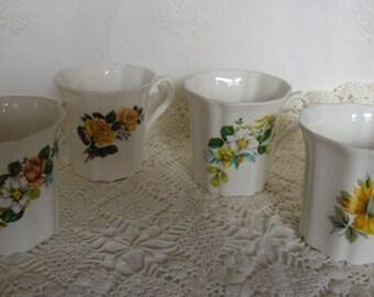 Vintage Mugs - Royal Grafton Bone China Mugs, Set of 4 Floral Mugs, Made in England, Shower Gift, Mother's Day