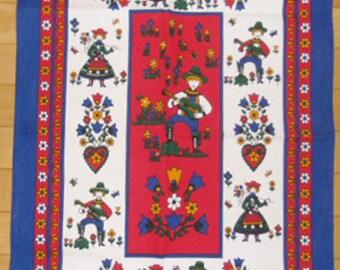 Vintage Towel - Pennsylvania Dutch Tea Towel, Folk Art Tea Towel, Printed Tea Towel, Wall Hanging, Kitchen Decor